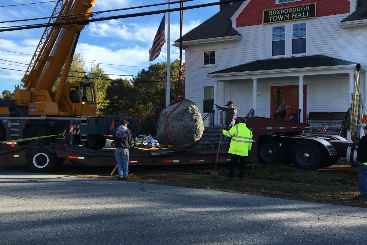 Monument Being Moved in Front of the Boxborough Town Hall